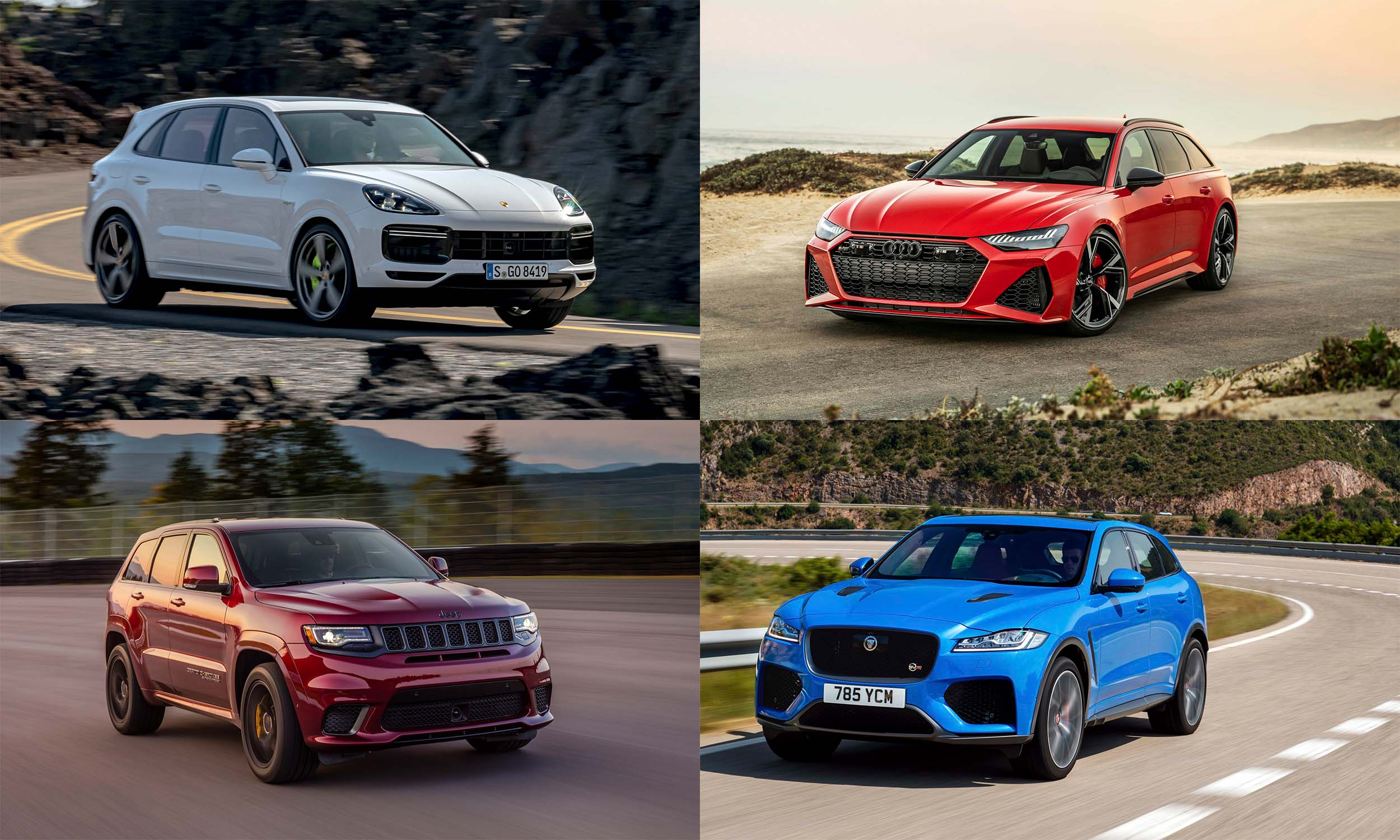 © Porsche Cars North America, © FCA US, © Audi AG, © Jaguar Land Rover