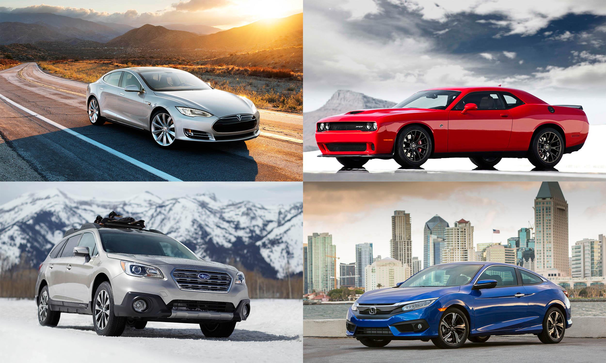 © Tesla Motors, © FCA US, © Subaru of America, © American Honda