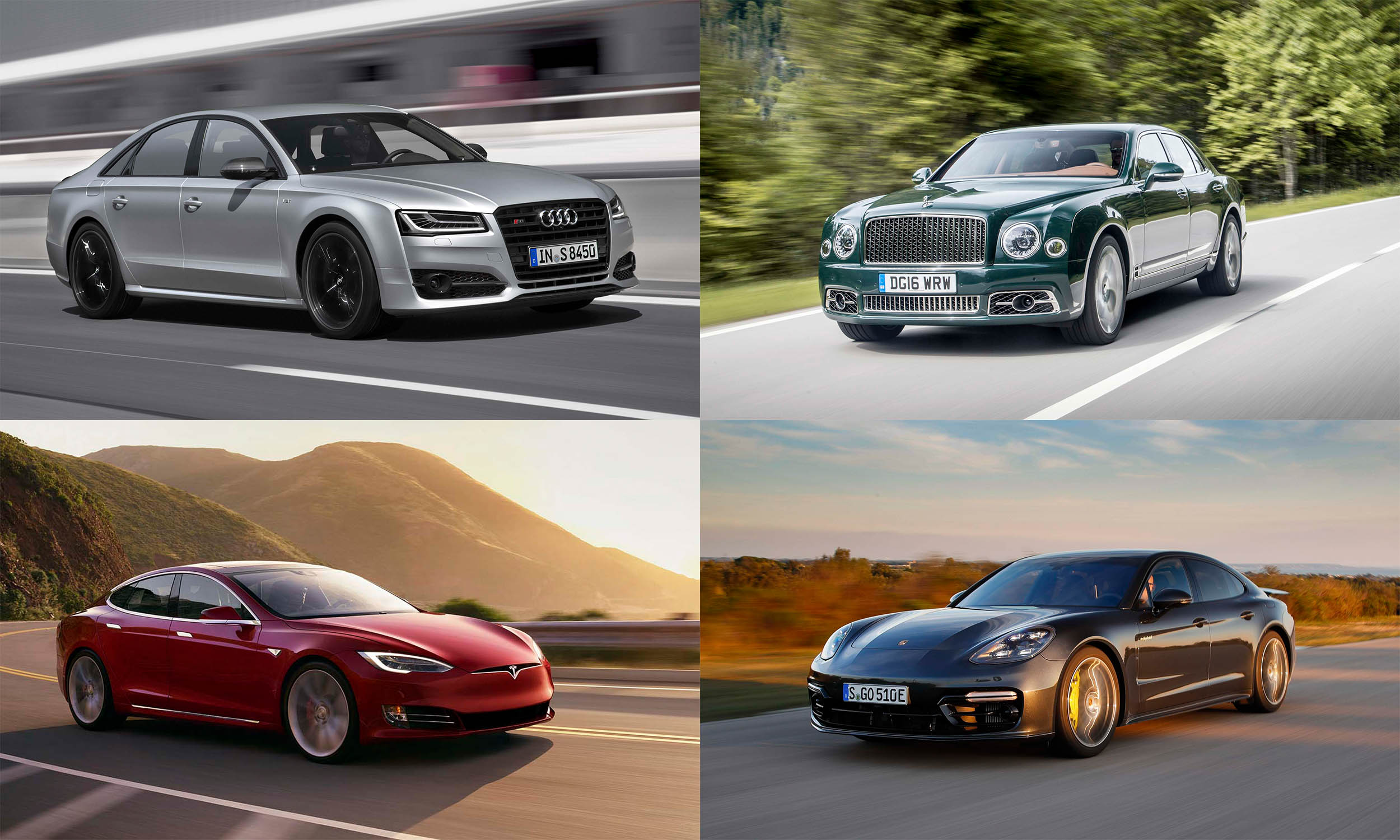 © Audi AG, © Tesla Motors, © Bentley Motors, © Porsche Cars North America