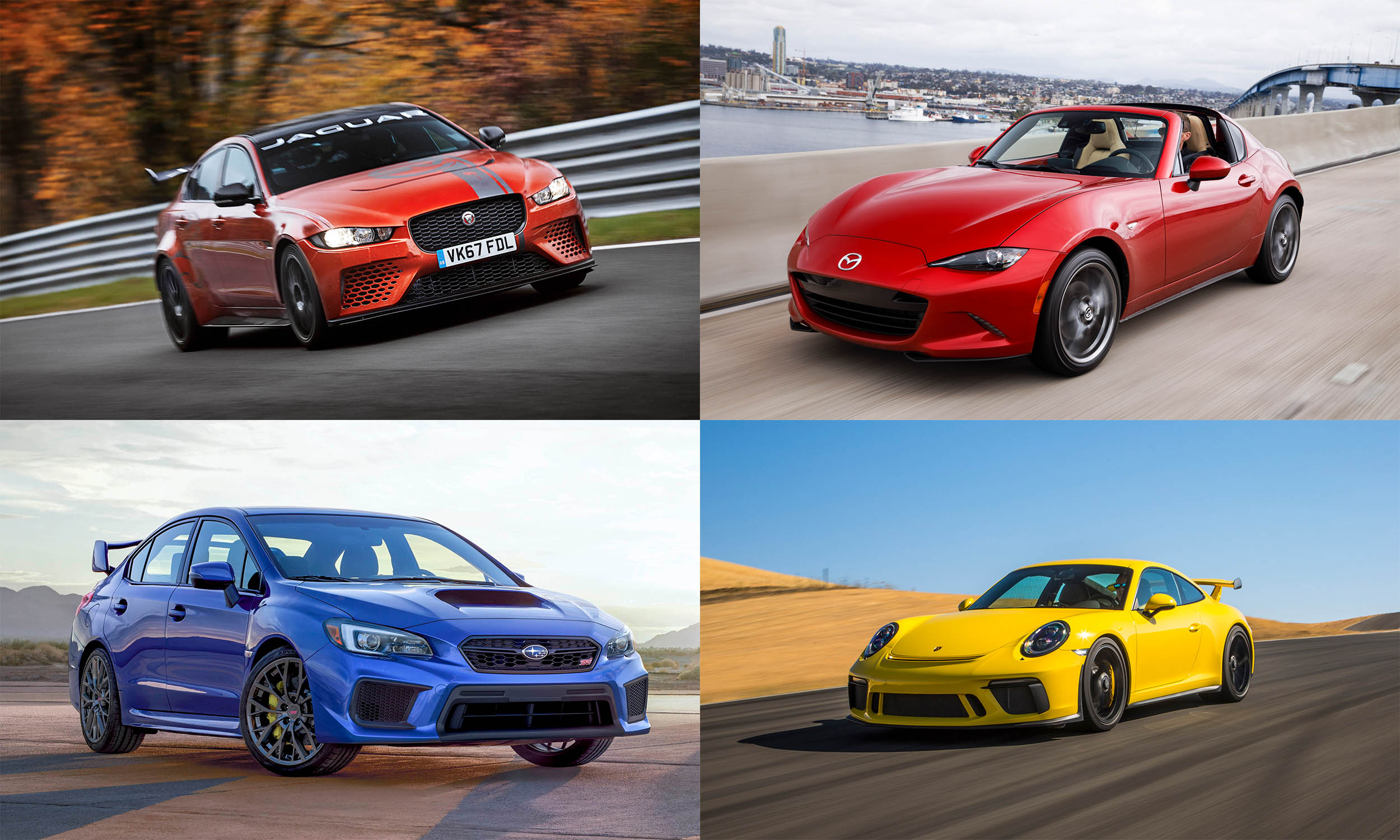 © Jaguar Land Rover, © Subaru of America, © Mazda North American Operations, © Porsche Cars North America